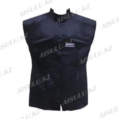 Халат для парикмахера Е-7007 на кнопках, без рукавов, черный AISULU