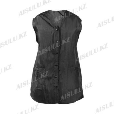 Халат для парикмахера Е-7003 на кнопках, без рукавов, удлиненный черный, размер S