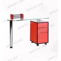 YM-006 C Стол маникюрный однотумбовый стеклянный (красный)