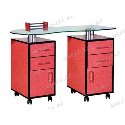 WD-005 C Стол маникюрный двухтумбовый стеклянный (красный с рисунком)