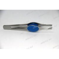 Пинцет для бровей AS-016 А (серебро) с синей ручкой AISULU