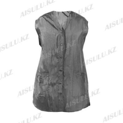Халат для парикмахера Е-7003 на кнопках, без рукавов, удлиненный серый, размер S AISULU