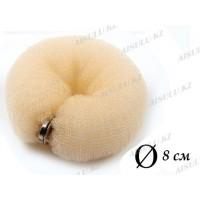 Валик для объема волос Q-66 бежевый Ø 8 см на кнопке AISULU (м)