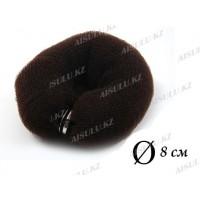Валик для объема волос Q-66 темно-коричневый Ø 8 см на кнопке AISULU (м)